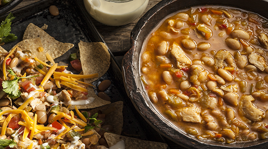 White Chicken Chili with Beans Soup